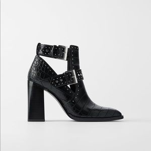 Zara Animal Embossed Heeled Ankle Boots